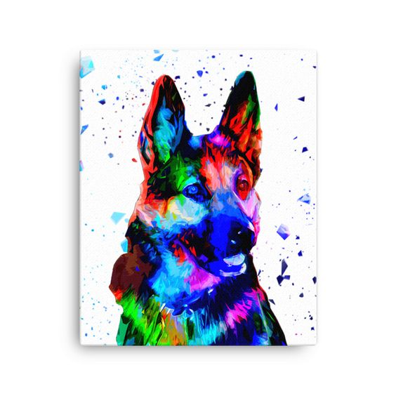 German Shepherd Colorful Low Poly Canvas