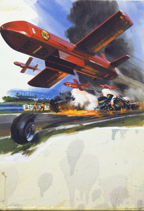 The Flying Fire Fighters (Original) (Signed) art by Wilf Hardy at The Illustration Art Gallery | An original watercolour painting by Wilf Hardy showing a proposed design by the German company Fokker for a drone fire fighting aircraft to be used on occasions such as aeroplane crashes or crashes at car race meetings, including Formula One.