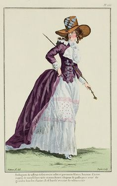 A Most Beguiling Accomplishment: Galerie des Modes, 54e Cahier, 2e Figure. Redingote of violet taffeta, revers, collar, and cuffs white, steel buttons, striped and spotted muslin petticoat: puce straw hat trimmed with large steel buckles: it is edged and belted with black velvet. (1787)