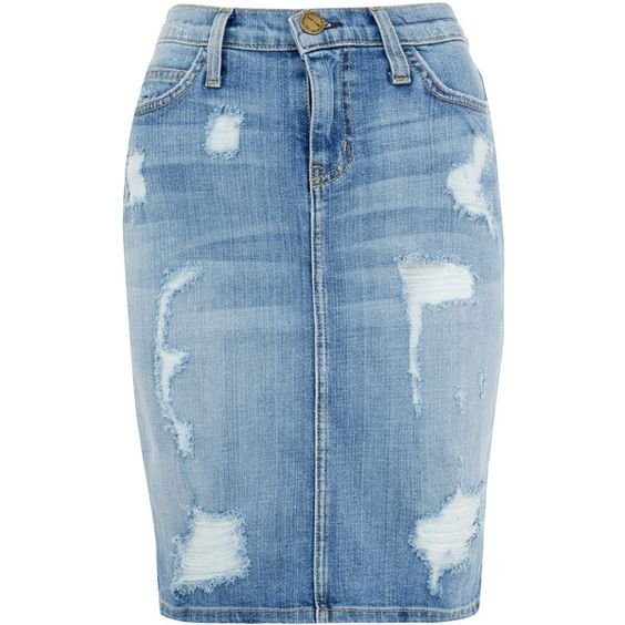 Current/Elliott Blue The Stiletto Pencil Distressed Denim Skirt (£165) ❤ liked on Polyvore featuring skirts, bottoms, saias, denim, ripped skirt, pencil skirt, distressed skirt, distressed denim pencil skirt and current elliott skirt