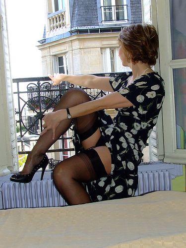 Italian milf in black stockings