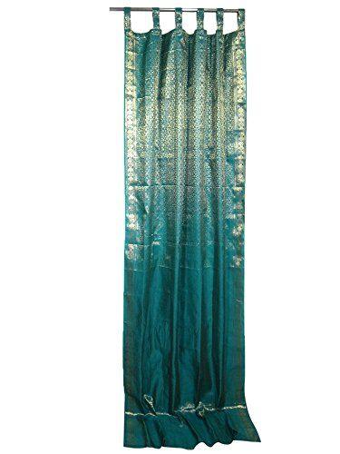 Mogul Indian Silk Sari Curtains Teal Blue Golden Brocade India ...