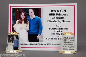 "HRH Princess Charlotte ""It's A Girl"" Exclusive China Thimble+ Cert B/152 