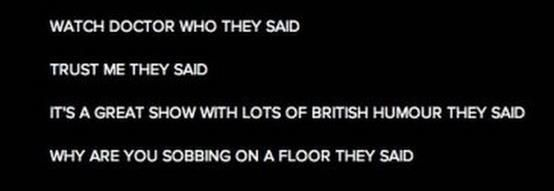 What Doctor Who, they said. Trust me, they said. It's a great show with lots of British humour, they said. Why are you sobbing on a floor, they said.