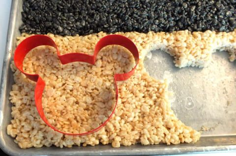 Cutting out Mickey Mouse Rice Krispie Treats