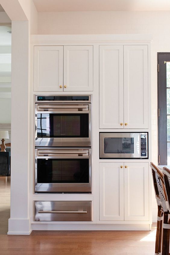 Oven Cabinet Layout. Kitchen Oven Cabinet. Kitchen Oven Cabinet Ideas. Kitchen Oven Cabinet Design. Kitchen with two ovens, warmer drawer and microwave oven. #Oven #Cabinet #Kitchen  Jean Stoffer Design.: