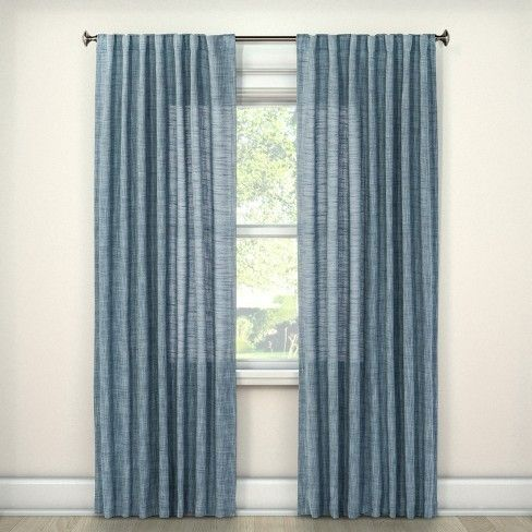 Textured Weave Back Tab Window Curtain Panel Threshold Blue Curtains Living Room Curtains Panel Curtains