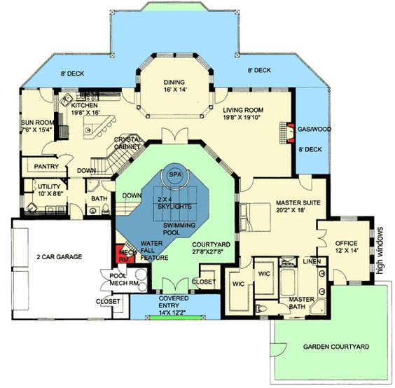 plan 35459gh northwest home with indoor central courtyard
