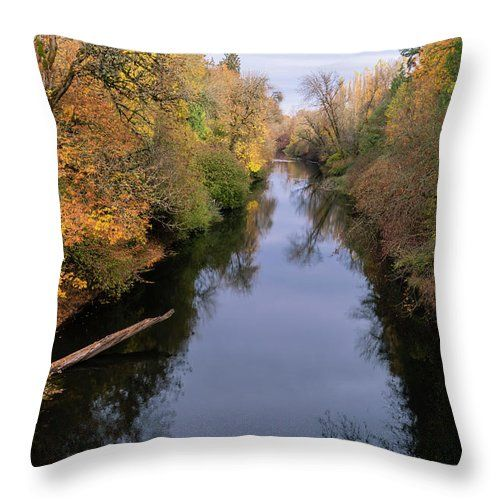 Fall Colors Line The Banks Of The Pudding River As It Makes Its Way Through The Willamette Valley Oregon Oregon Fall T Throw Pillows Pillows Pillow Sale