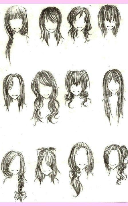 Cabelo desenho referência de penteado feminino