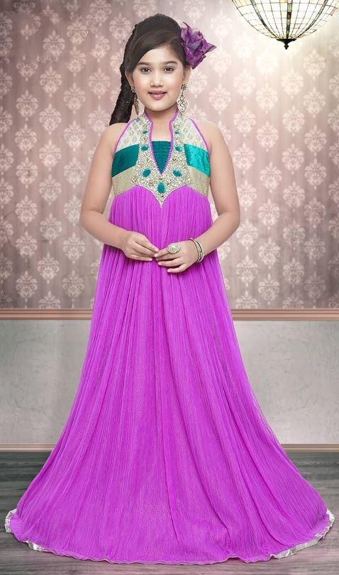Magenta Net Readymade Gown Online Shopping: URK14 | indian clothes ...