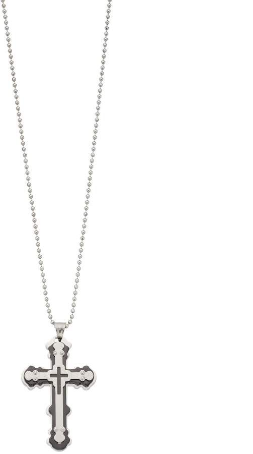 1913 Men S Two Tone Stainless Steel Cross Pendant Necklace Style Bold Necklace