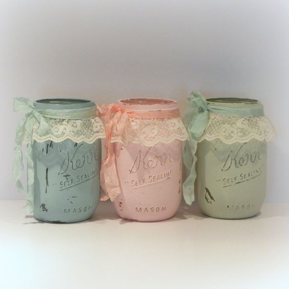 Shabby Chic Mason Jars Painted Mason Jars by uniqueboxboutique, $6.50