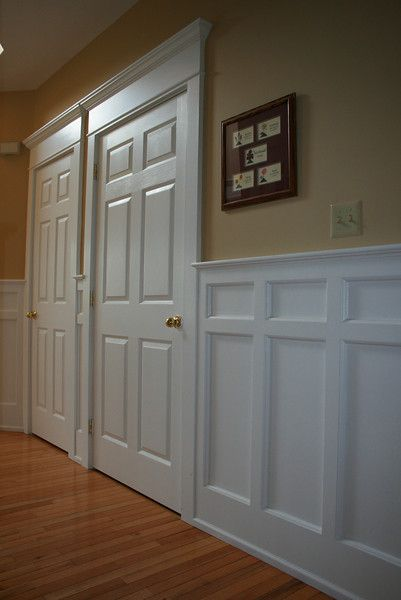 Wainscoting wainscoting ideas and hallways on pinterest for Dining room paneling ideas