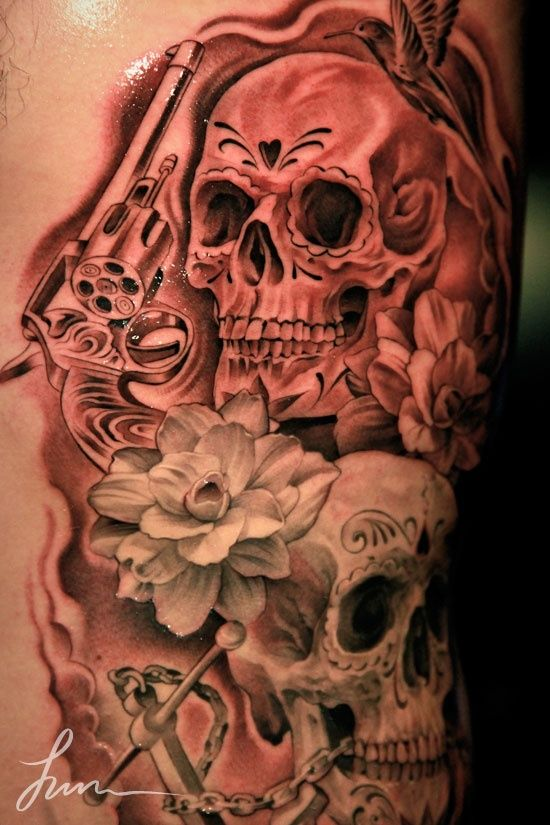 Skulls, Gun, flower, bird and anchor