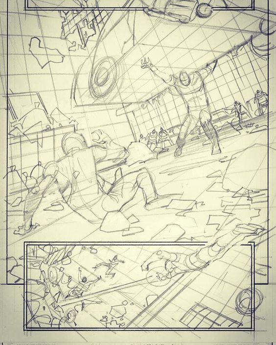 Adam Kubert Avengers 7 pg 8 pencil rough #avengers #marvelcomics