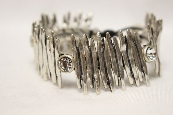 18050 CZ Bracelet $51 #CZ #Herringbone #Metal #Indian-made #Bracelet #Cafe #Boutique #Iowa #Fashion #Jewelry #Iowa #Silver