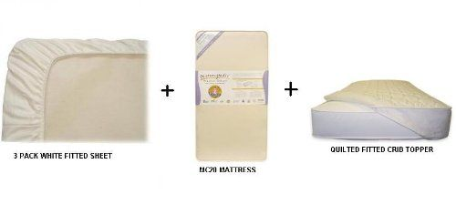 Naturepedic Mc20 No Compromise Organic Crib Mattress With 1 Fitted Quilted Crib Topper Amp 3 Pack Fitted W Organic Crib Mattress Organic Sheets Crib Mattress