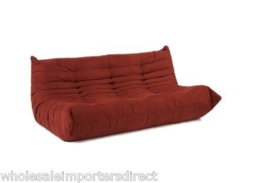 Ligne Roset Togo Style Sofa in RED alcantara style fabric for Modular Sectional