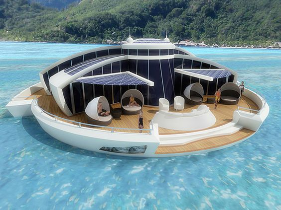 The Solar Floating Resort is an example of what the distant future might hold when it comes to architecture, our reliance on renewable resources, and dealing with overpopulation on land. Covered completely in a photovoltaic skin, the resort is 100% self-sufficient and non-polluting.  On top of that, the floating palace is actually a modular system that divides into much smaller components that can be moved and assembled almost anywhere.
