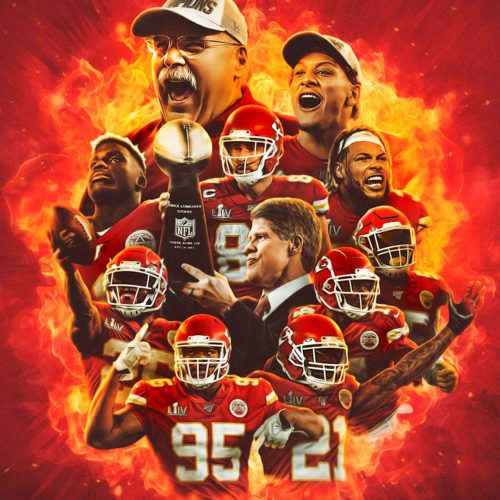 Andy Reid Tyreek Hill Frank Clark Tyrann Mathieu Patrick Mahomes Chris Jones Travis Kelc In 2020 Chiefs Super Bowl Kansas City Chiefs Football Kansas City Chiefs