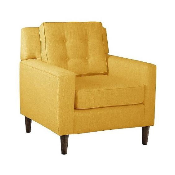 Skyline Custom Upholstered Arm Chair, Linen French Yellow ($475) ❤ liked on Polyvore featuring home, furniture, chairs, accent chairs, linen french yellow, yellow armchair, upholstered armchair, tufted chair, tufted armchair and fabric arm chair