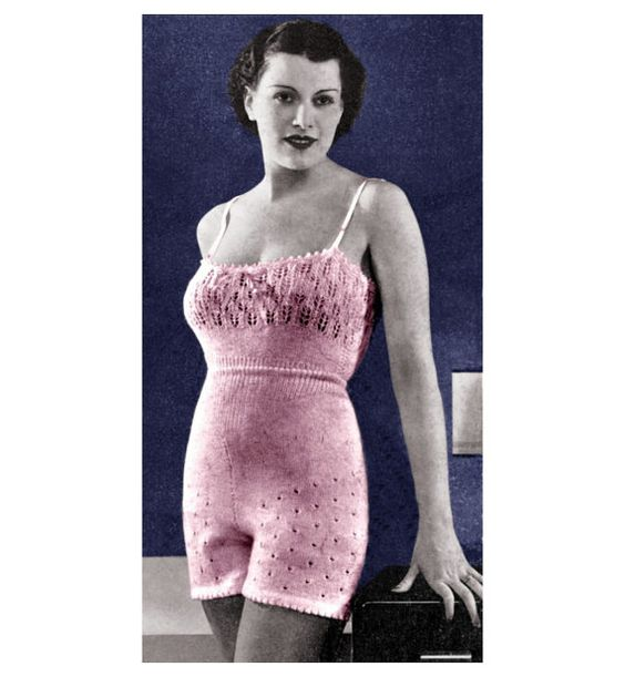 Knitting Pattern For Underwear : Vintage Knitting Pattern 1930s Lingerie Camisole Knicker Panties by 2ndlookvi...