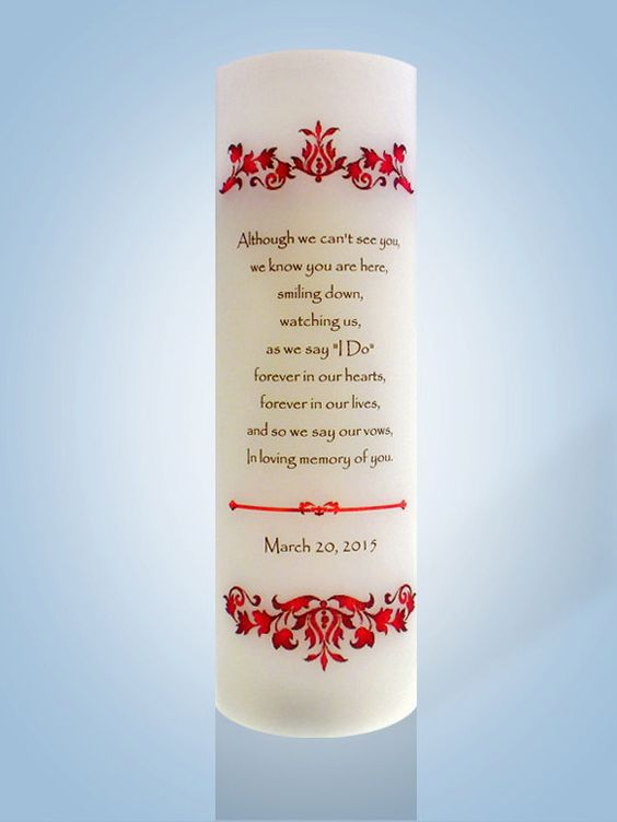Personalized Wedding Memorial Candle with Red by IThinkICanDesigns