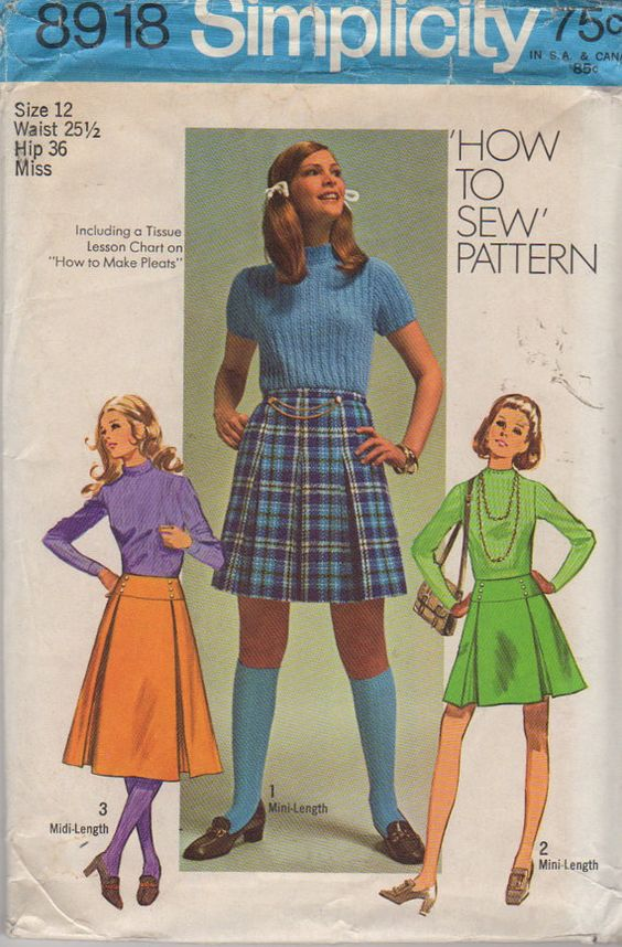Simplicity 8918 1970s Misses Pleated Mini Midi Skirt vintage sewing Pattern by mbchills