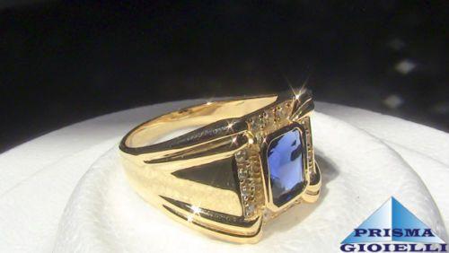 Anello-uomo-in-argento-massiccio-925-placcato-oro-18-Kt-misura-25-zaffiro-blu