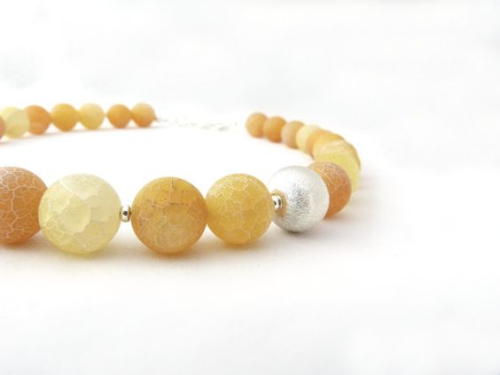 LEMON yellow matte agate necklace with by stonesartisanjewelry, $88.00