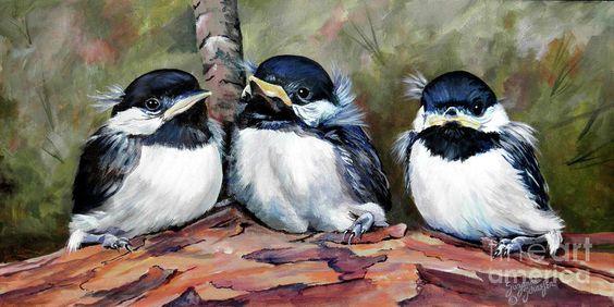Blackcapped Chickadee Babies Painting  - Blackcapped Chickadee Babies Fine Art Print