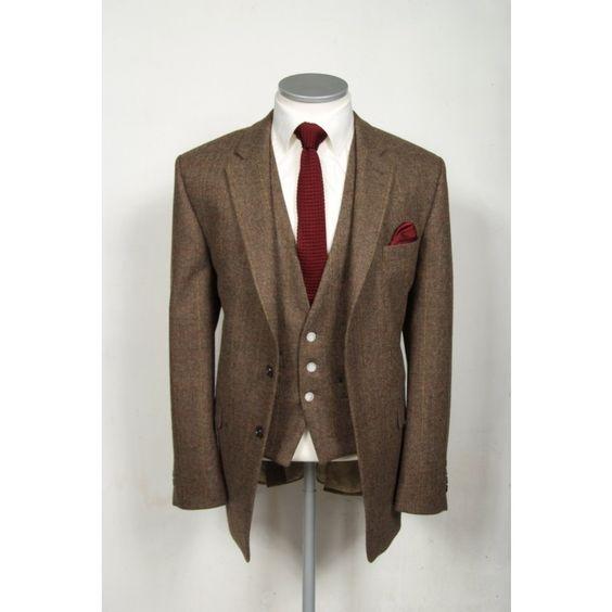 Vintage brown English tweed slim fit wedding lounge suit hire