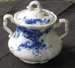 Flow Blue Sugar Bowl