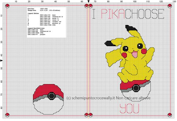 Biglietto punto croce per fidanzato fidanzata Pokemon I Pikachoose You idea regalo