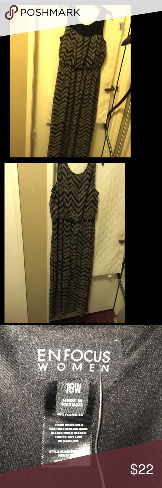 Beige/black chevron dress Hardly worn in great condition Dresses Maxi