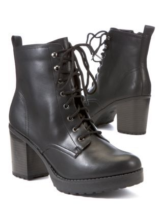 Black (Black) Black Chunky Lace Up Heeled Work Boots  274813801