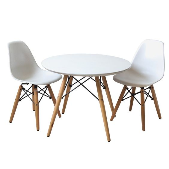 $179.49 Set of 2 White Kids Chair Eames Style Mid Century Modern Playroom Bedroom Nursery Kitchen Chair with Wood Dowel Legs Base & Mid-century Modern Childrens Round Kid Toddler Table Kids Table and Chairs