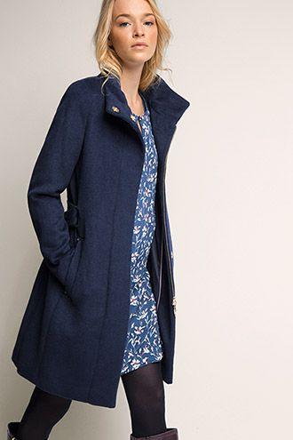 Esprit / Wolliger Mantel mit Stehkragen