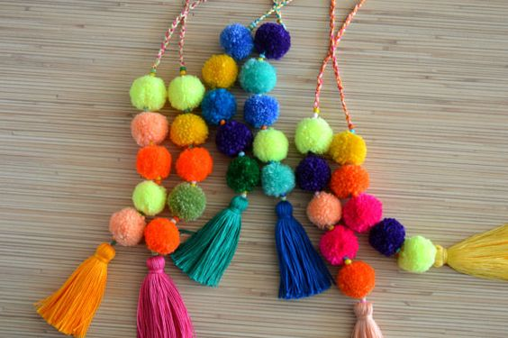 Pom pom bag charms PearlandShineJewelry:
