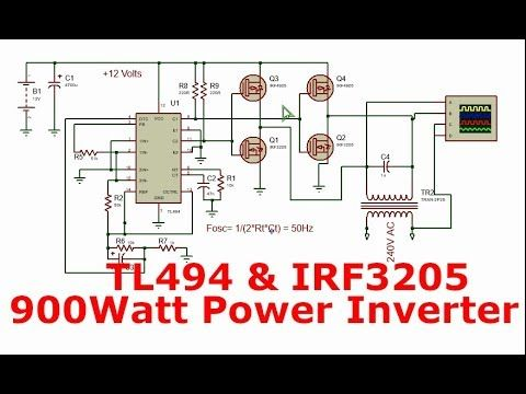 Power Inverter With Tl494 And H Bridge Power Mosfets 900watt 12 240v Power Inverters Electronic Schematics Electronic Circuit Design