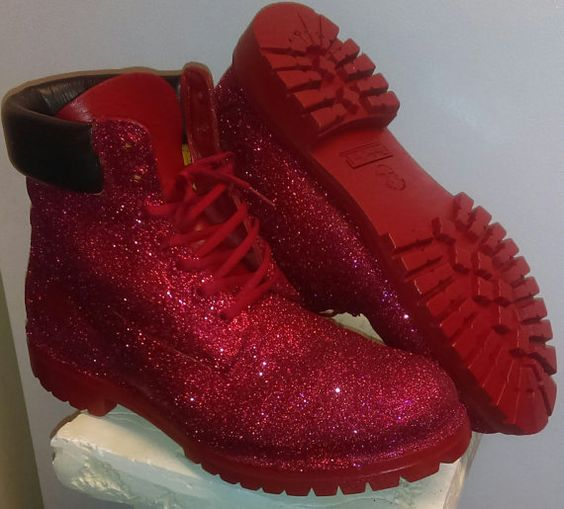 Red glitter timberland boots by KudozKustoms on Etsy: