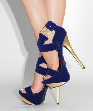 Navy blue+ Gold+Heels