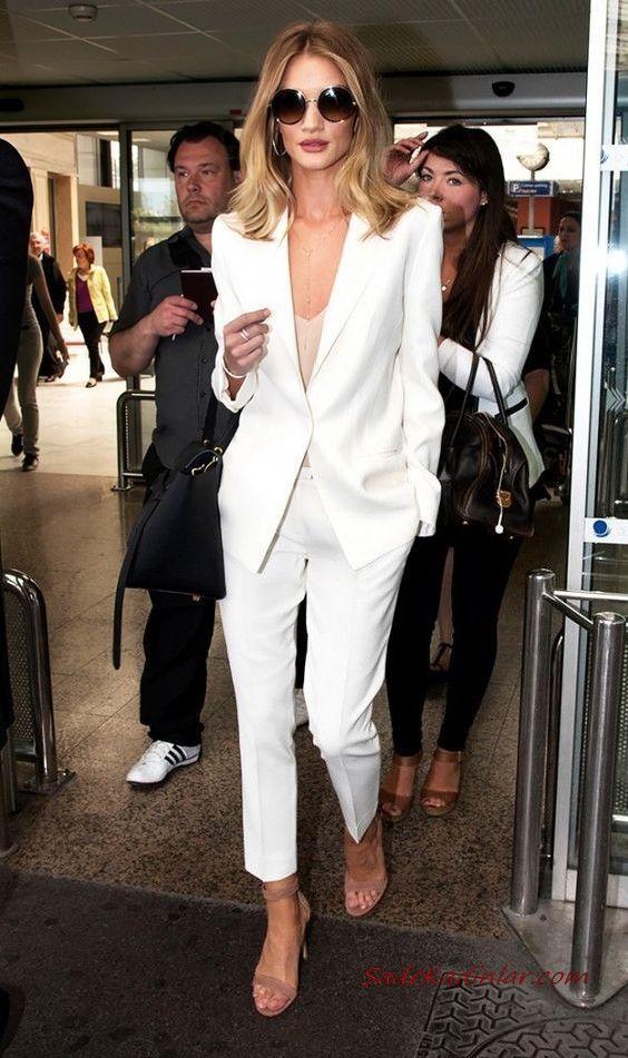 2019 Bayan Takim Elbise Kombinleri Beyaz Cepli Pantolon Vizon Bluz Beyaz Uzun Ceket Vizon Stiletto Ayakkabi Takim Elbise Stil Tarz Moda