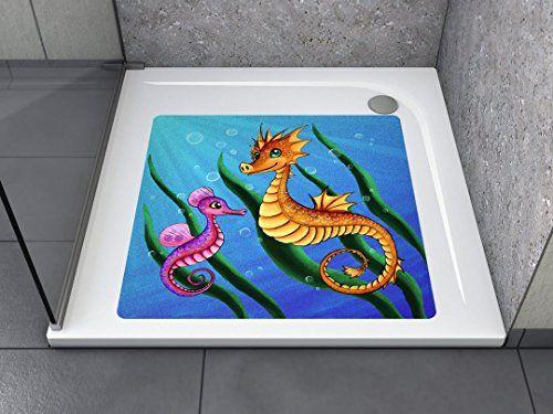 """Anti-Rutsch Aufkleber """"Seepferdchen (quadratisch)"""" Antibakteriell, selbstklebend, leicht zu installieren und rückstandslos entfernbar. Ersetzt herkömmliche, schmutz-ansetzende Duschmatten. Für Badewanne und Dusche."""