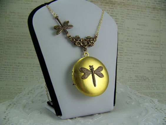 Dragonfly Locket Reversible Locket Bird by CreatedinTheWoods, $27.95