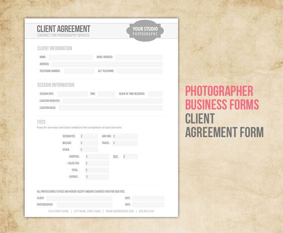 Photography Session Details - printable photography ideas - business agreement form