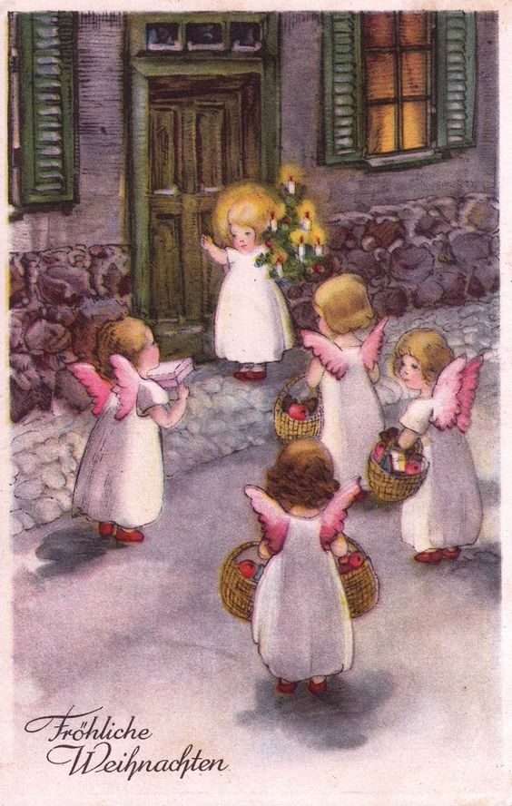 AK, HANNES PETERSEN, Engel u. Christkind besuchen die Kinder mit lieben Gaben* | eBay