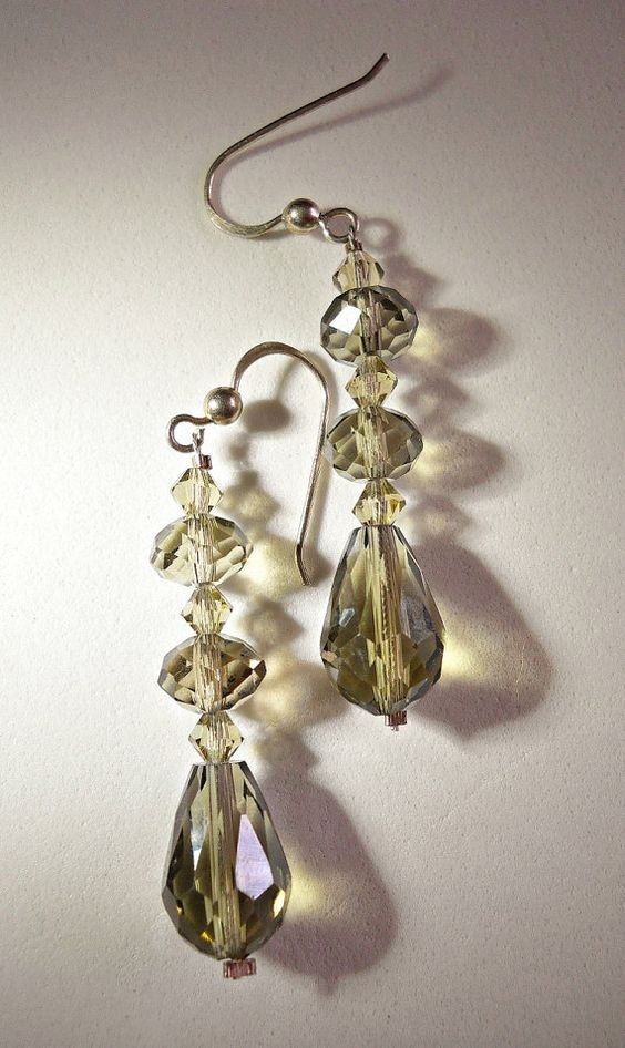 Swarovski Sterling Earrings Smokey Crystal by RenaissanceFair, $25.00