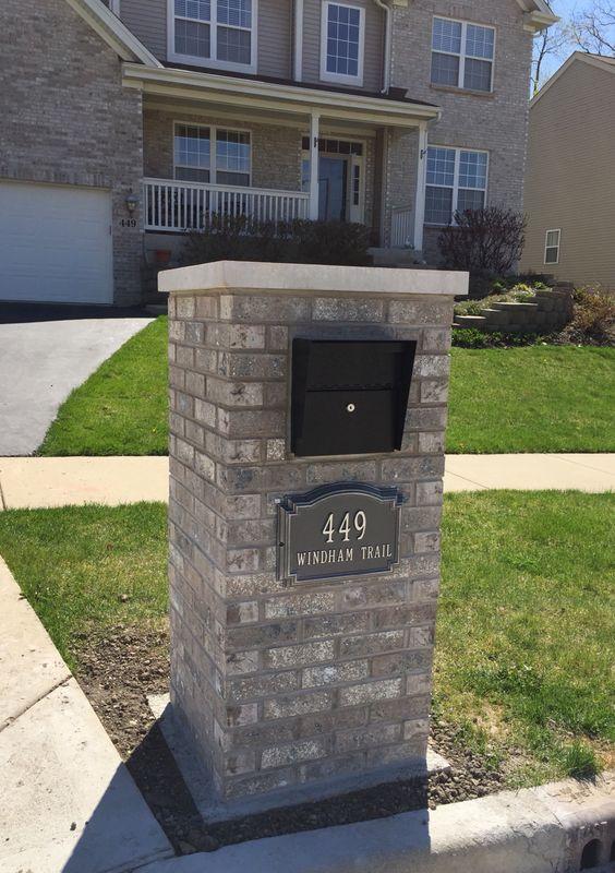 Finish building my mailbox!  I used Aztec white brick, limestone cap, MailBoss mailbox, and Williamsburg address plaque.
